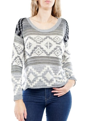 Long Sleeve Round-Neck Aztec  Women's Sweater. 26645-Grey/Ivory