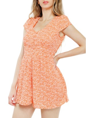 Short sleeve cut out romper. 26T6567NJD-Orange Floral