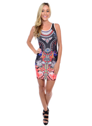 Sleeveless tight fit short length sublimation dress with mesh shoulder, side and back yoke-3156-BLACK SUBLIMATION