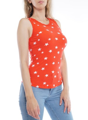 Sleeveless Round Neck Star Print Tank Top  32675R21STA-Red