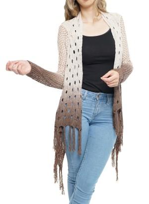 Woven Crochet Open Cardigan. 35332-Mocha