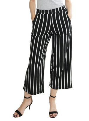High Waist Wide Leg  Side Pocket Stripe Pants 38821-Black/White