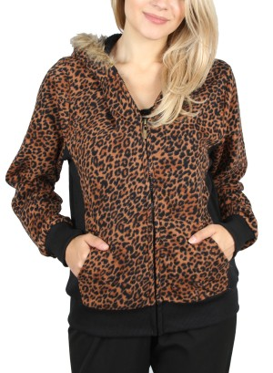 LEOPARD PRINT BOMBER JACKET-3JA2861-BROWN