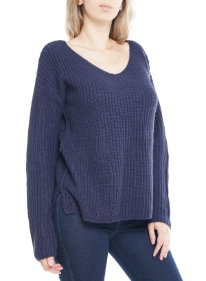 Long Sleeve V-Neck Side-Slit Sweater. 40783-Navy