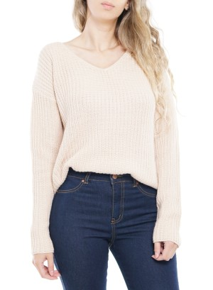 Long Sleeve V-Neck Side-Slit Sweater. 40783-Beige