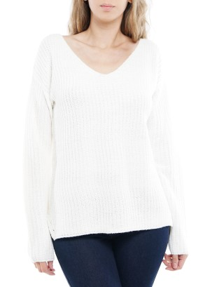 Long Sleeve V-Neck Side-Slit Sweater. 40783-Ivory