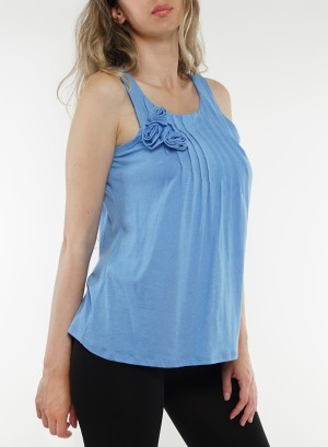Sleeveless rose front detail top 41259698-Blue