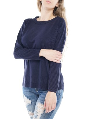 Long Sleeve Round Neck Sweater 4148-Navy
