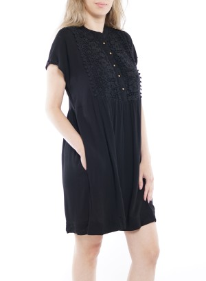 Short Sleeve Button-Up Side-Pockets Lace detail Dress. 50435A001-Black