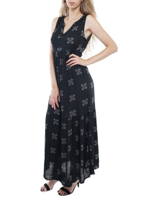 Sleeveless V-neck Maxi Dress with Pep hem 50547A0001-Black