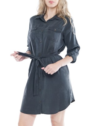 Long Sleeve Front-Button Waist Tie-Belt Front-Pockets Dress 51010A0001-Olive