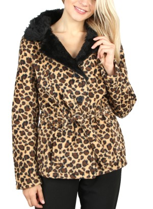 BLACK CHEETAH BELTED COAT.52353- CHEETAH