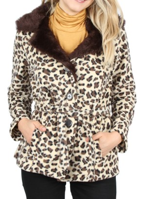 BROWN  CHEETAH BELTED COAT.52353- CHEETAH-BROWN