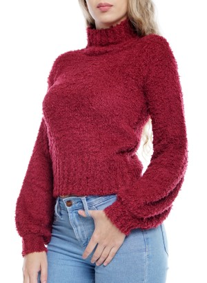 Mock Neck Bishop Sleeve Solid Sweater. 571212A491-Burgundy