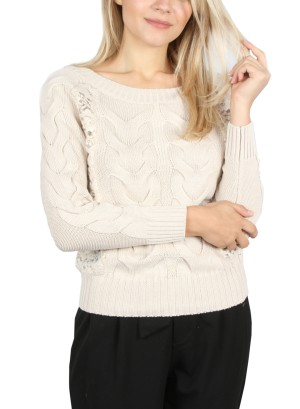 LACE KNIT THREE-QUARTER SLEEVE SWEATER-715110810-BEIGE