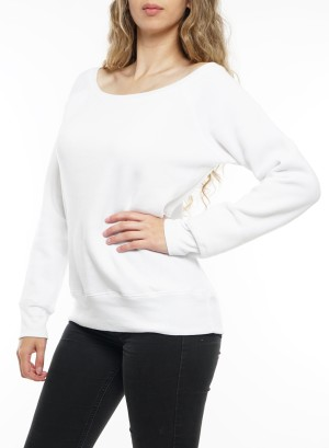 Long Sleeve Fleece Crew neck sweater 7501-White
