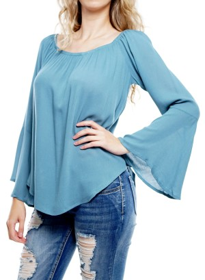 Bell sleeve woven top. 75897A01-Teal