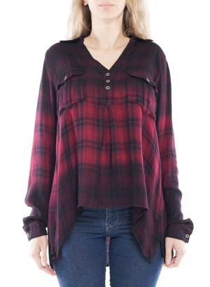 Long Sleeve Button-Up Front-Pocket Plaid Top. 768865A01-Burgundy-Black