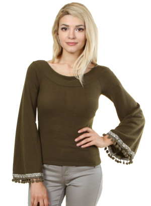 Long sleeve top with patterned sleeve opening. WH-8627-OLIVE