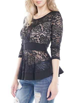 3/4 Sleeves Lace Peplum Top. 8943-Black