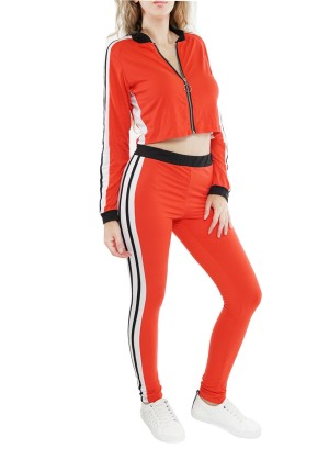 Banded Black-solid trim waistline,  Zip-up, long sleeves collared top featuring a stripe-side contrast Active sets.42597- Red/White/Black