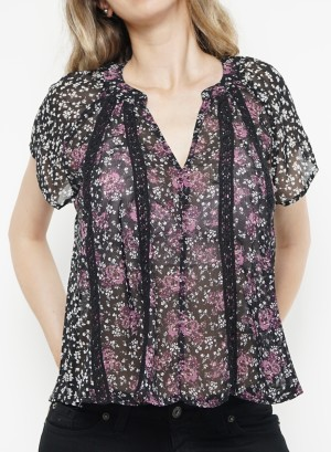 Flare sleeves floral sheer top. B1573399- Black Floral