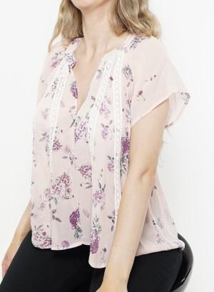 Flare sleeves floral sheer top. B1573399- Purple Multi