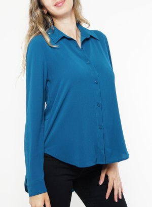 Button down hi-low slit-back long sleeves top.B8767-Teal