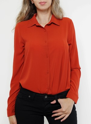 Button down hi-low slit-back long sleeves top.B8767- Rust