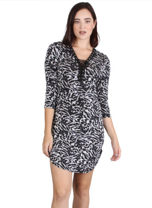 V-neck criss-cross tie front quarter sleeve shift dress with rounded hem FH-7055P-BLACK/IVORY