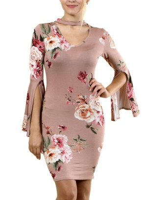 Long Bell Sleeves Floral Dress with Choker FH-BD7228P-Mauve