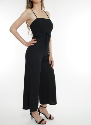 Spaghetti-adjustable-straps, bow-detail waistline solid jumpsuit.BD2009-Black
