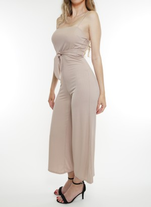 Spaghetti-adjustable-straps, bow-detail waistline solid jumpsuit.BD2009-Tan