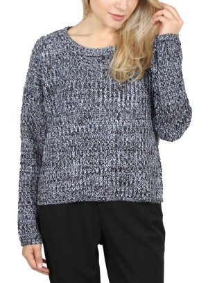 KNITTED SWEATER. BFT-02589-HEATHER NAVY