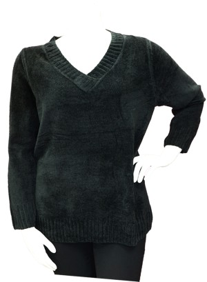 V-NECKLINE CHENELLE PLUS SIZE SWEATER TOP. BFT-03159- BLACK