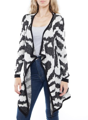 Long Sleeve Flare Aztec Open Cardigan. BFT-07487-Black/White