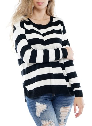 Long Sleeve O-Neck Zipper-Back Striped Sweater. BFT10043-Black/White