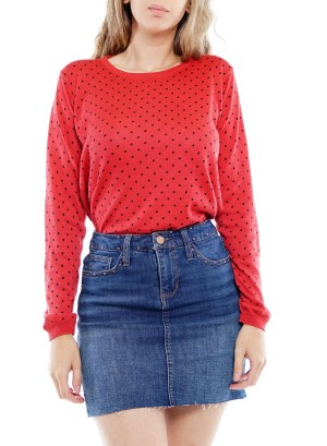 Long Sleeve Round-Neck Dots Sweater BFT-10669-Red