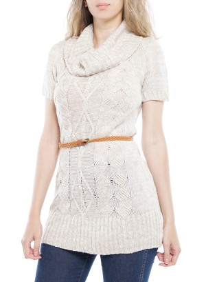 Short Sleeve Turtleneck Mini Sweater-Dress With Belt. BFT-10674-Beige