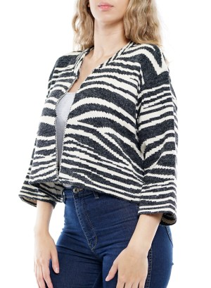 ¾ Sleeves Open Front Zebra Print Short Cardigan. BFT-11307-Ivory/Charcoal