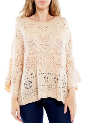 Layered Bell-Sleeve  Crochet Top. BFT-11309-Khaki