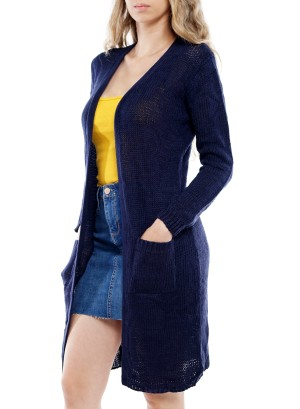 Long Sleeve Front Pockets Long Open Cardigan BFT-11673-Navy