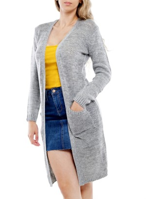 Long Sleeve Front Pockets Long Open Cardigan BFT-11673-Grey