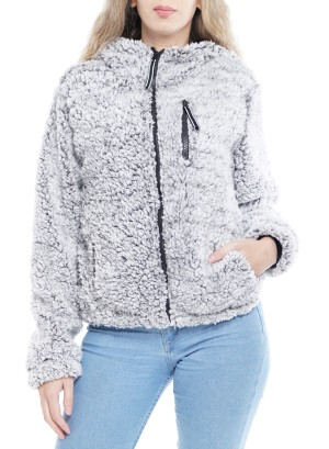 Long Sleeve Side-Pockets Front-Zip Hooded Jacket. BFT-119262-Grey