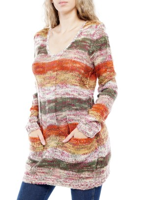 Long Sleeve V-neck Front Pockets Knitted Sweater. BFT-11960-Yellow/Orange