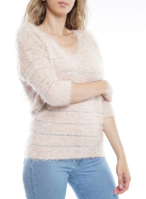 3/4 Sleeves Metallic Knitted Sweater BFT-12113-Peach