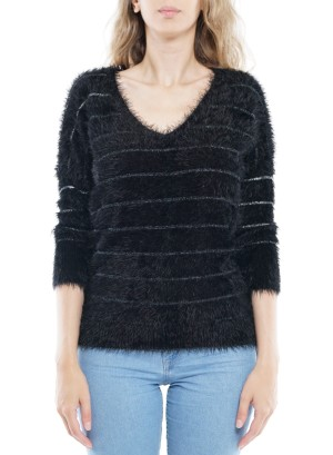 3/4 Sleeves Metallic Knitted Sweater BFT-12113-Black
