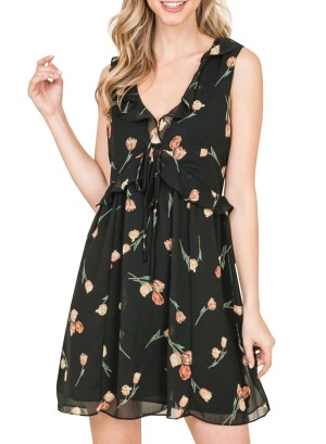 Ruffled tie-front lined chiffon floral dress. Ad02796-Black