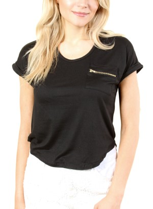 WOMEN'S SHORT SLEEVE TOP WITH ZIPPER POCKET. FH-21099-BLACK