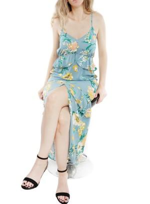 Spaghetti-straps Ruffled-hi low front floral maxi dress J12228VBRK-Aqua Floral